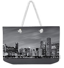 Chicago Skyline At Night Black And White Panoramic Weekender Tote Bag by Adam Romanowicz