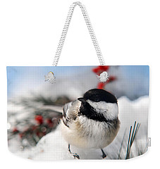 Chilly Chickadee Weekender Tote Bag by Christina Rollo