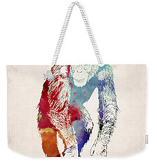 Chimpanzee Drawing - Design Weekender Tote Bag by World Art Prints And Designs