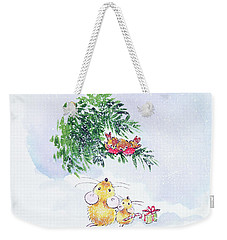Christmas Mice And Robins Weekender Tote Bag by Diane Matthes