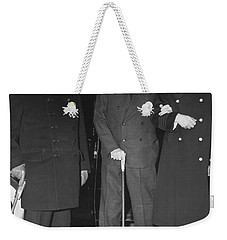 Churchill And Roosevelt Weekender Tote Bag by Underwood Archives