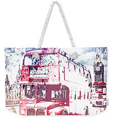 City-art London Red Buses On Westminster Bridge Weekender Tote Bag by Melanie Viola