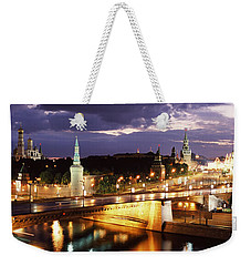 City Lit Up At Night, Red Square Weekender Tote Bag by Panoramic Images
