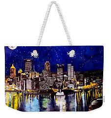 City Of Pittsburgh At The Point Weekender Tote Bag by Christopher Shellhammer