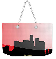 Cityscapes- Los Angeles Skyline In Black On Red Weekender Tote Bag by Serge Averbukh
