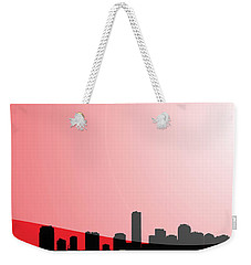 Cityscapes - Miami Skyline In Black On Red Weekender Tote Bag by Serge Averbukh