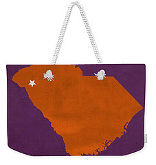 Clemson University Tigers College Town South Carolina State Map Poster Series No 030 Weekender Tote Bag by Design Turnpike