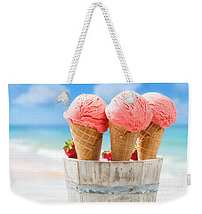 Close Up Strawberry Ice Creams Weekender Tote Bag by Amanda Elwell