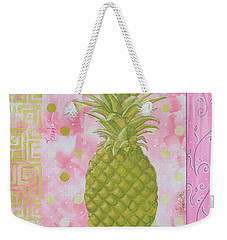 Coastal Decorative Pink Green Floral Greek Pattern Fruit Art Fresh Pineapple By Madart Weekender Tote Bag by Megan Duncanson