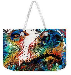 Colorful Bear Art - Bear Stare - By Sharon Cummings Weekender Tote Bag by Sharon Cummings
