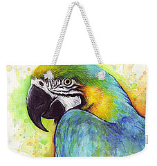 Macaw Watercolor Weekender Tote Bag by Olga Shvartsur