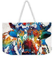 Colorful Buffalo Art - Sacred - By Sharon Cummings Weekender Tote Bag by Sharon Cummings