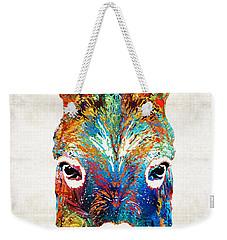 Colorful Donkey Art - Mr. Personality - By Sharon Cummings Weekender Tote Bag by Sharon Cummings