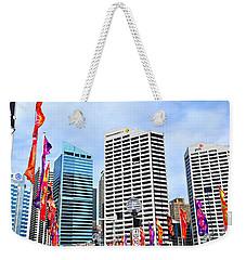 Colorful Flags Lead To City By Kaye Menner Weekender Tote Bag by Kaye Menner