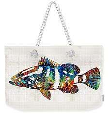Colorful Grouper 2 Art Fish By Sharon Cummings Weekender Tote Bag by Sharon Cummings