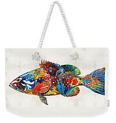 Colorful Grouper Art Fish By Sharon Cummings Weekender Tote Bag by Sharon Cummings