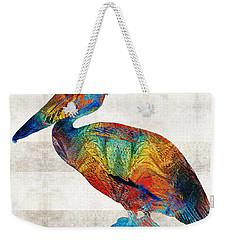 Colorful Pelican Art By Sharon Cummings Weekender Tote Bag by Sharon Cummings