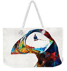 Colorful Puffin Art By Sharon Cummings Weekender Tote Bag by Sharon Cummings