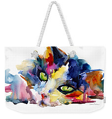 Colorful Tubby Cat Painting Weekender Tote Bag by Svetlana Novikova