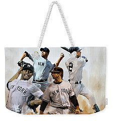 Core  Derek Jeter Mariano Rivera  Andy Pettitte Jorge Posada Weekender Tote Bag by Iconic Images Art Gallery David Pucciarelli