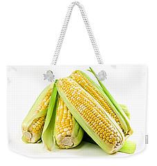 Corn Ears On White Background Weekender Tote Bag by Elena Elisseeva