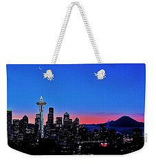 Crescent Moon Over Seattle Weekender Tote Bag by Benjamin Yeager