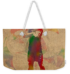 Cristiano Ronaldo Soccer Football Player Portugal Real Madrid Watercolor Painting On Worn Canvas Weekender Tote Bag by Design Turnpike