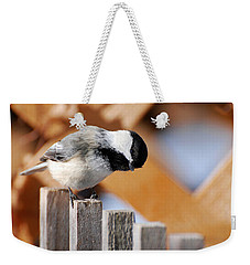 Curious Chickadee Weekender Tote Bag by Christina Rollo