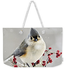 Cute Winter Bird - Tufted Titmouse Weekender Tote Bag by Christina Rollo