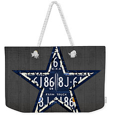 Dallas Cowboys Football Team Retro Logo Texas License Plate Art Weekender Tote Bag by Design Turnpike