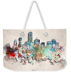 Dallas Painted City Skyline Weekender Tote Bag by World Art Prints And Designs