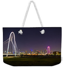Dallas Skyline And Margaret Hunt Hill Bridge Weekender Tote Bag by David Morefield