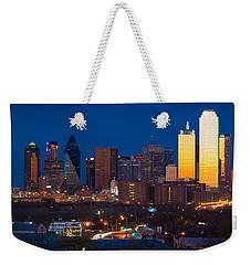 Dallas Skyline Panorama Weekender Tote Bag by Inge Johnsson