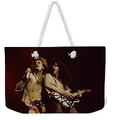 David Lee Roth And Eddie Van Halen - Van Halen- Oakland Coliseum 12-2-78   Weekender Tote Bag by Daniel Larsen
