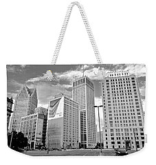 Detroit Black And White Weekender Tote Bag by Frozen in Time Fine Art Photography
