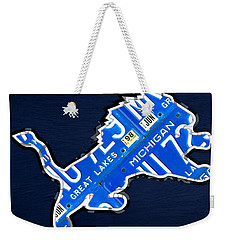 Detroit Lions Football Team Retro Logo License Plate Art Weekender Tote Bag by Design Turnpike