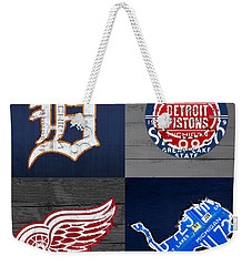 Detroit Sports Fan Recycled Vintage Michigan License Plate Art Tigers Pistons Red Wings Lions Weekender Tote Bag by Design Turnpike