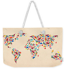 Dinosaur Map Of The World  Weekender Tote Bag by Mark Ashkenazi