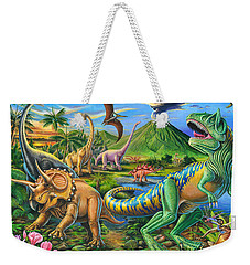 Dinosaur Scene Weekender Tote Bag by Mark Gregory
