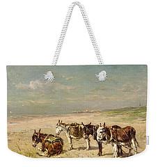 Donkeys On The Beach Weekender Tote Bag by Johannes Hubertus Leonardus de Haas