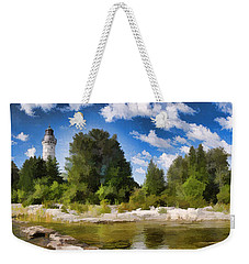 Door County Cana Island Lighthouse Panorama Weekender Tote Bag by Christopher Arndt