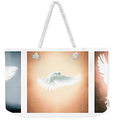 Dove In Flight Triptych Weekender Tote Bag by YoPedro