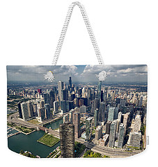 Downtown Chicago Aerial Weekender Tote Bag by Adam Romanowicz