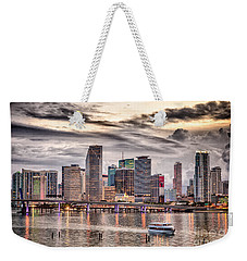 Downtown Miami Skyline In Hdr Weekender Tote Bag by Rene Triay Photography
