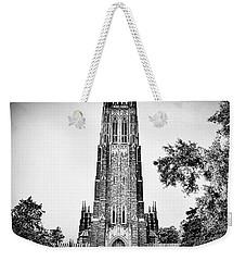 Duke Chapel In Black And White Weekender Tote Bag by Emily Kay