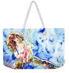 Eddie Van Halen Playing The Guitar.1 Watercolor Portrait Weekender Tote Bag by Fabrizio Cassetta