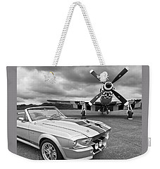 Eleanor Mustang With P51 Black And White Weekender Tote Bag by Gill Billington