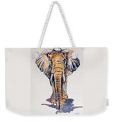 Elephant In Gold Weekender Tote Bag by Kovacs Anna Brigitta