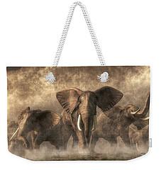 Elephant Stampede Weekender Tote Bag by Daniel Eskridge
