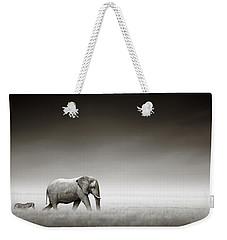 Elephant With Zebra Weekender Tote Bag by Johan Swanepoel